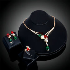 Fine 18K Gold Plated Colorful Crystal Elegant Pearls Earrings Necklace Ring Sets