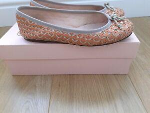 Pretty Ballerinas Orange and Taupe Woven Ballet Pumps / Shoes Size EU 37