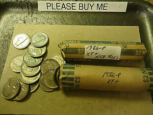 TWO ROLLS OF 1986-P JEFFERSON NICKELS  (( 80 COINS ))   SHIPPING & TRACKING