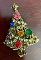 Vintage Signed Hollycraft Rhinestone Christmas Tree Pin Brooch