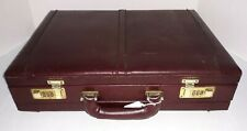 Vintage Franzen Red Leather Suede Lined Locking Leather Briefcase