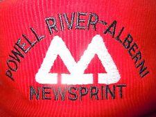 **Powell River-Alberni Newsprint Embroidered Corduroy Hat Cap MacMillen Bloedel*
