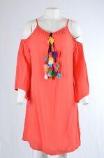 Vansa Womens Size Lg Tassel Pom Pom Cold Shoulder Shift Dress NWT   (E)