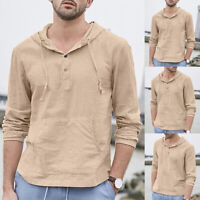 Men Long Sleeve Hoodie Pullover T Shirt Loose Buttons Casual Pockets Shirts Tops
