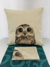 Set x2 NEW Decorative Home Bedding Decor Zip Up Owl Case Cover