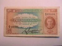 Malta 1942 2 Shillings Ch VF Original WWII George VI Banknote Paper Money