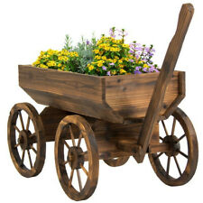 Outdoor Flower Planter Decorative Wood Wagon Cart on Wheels Container Pot