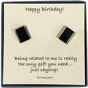 Happy Birthday Men's Sterling Silver Onyx Silver Lined Cufflinks Card Message