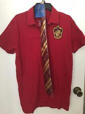Harry Potter Gryffindor Mens Red Polo Shirt with Tie new Size Large