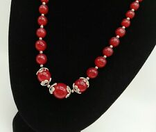 Red Carnelian and Sterling Silver Bead Necklace Vintage Quality Jewellery