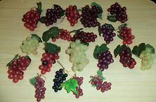 Lot 20 Vintage Mid Century Modern Artificial Rubber Grape Clusters Fruit Decor