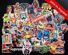 100 Stickerbomb Sticker Mix aus Retrostickern & Markenstickern, Aufkleber Decals