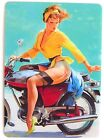 SWAP CARD. RETRO PIN-UP GIRL ON MOTORCYCLE VINTAGE ART. GIL ELVGREN. WIDE. MINT