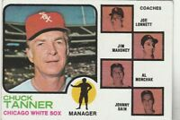 FREE SHIPPING-VG TO GOOD-1973 TOPPS BASEBALL CHUCK TANNER #356 WHITE SOX
