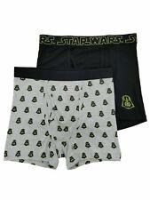 """Star Wars Mens 2-Pack Gray & Black Darth Vader Underwear Boxer Briefs S 28""""- 30"""""""