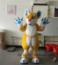Long Fur Dog Wolf Mascot Costume Suit Fox Dog Party Animal Cosplay Fancy Dress @