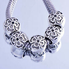5PCS white Filled Silver flowers charms european Charms Beads fit DIY Bracelet