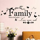 Family Butterfly Flower Art Vinyl Quote Wall Stickers Decals Room Home Decor