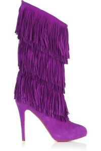CHRISTIAN LOUBOUTIN Forever Tina SUEDE KNEE-HIGH BOOTS $1695 SIZE 38
