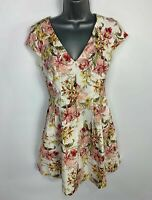WOMENS OASIS WHITE PINK FLOWER CAP SLEEVE CASUAL SUMMER FIT&FLARE DRESS SIZE 10