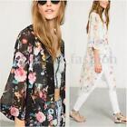 Women's Floral Chiffon Long Cardigan Coat Jacket Shawl Kimono Blouse Beach Tops