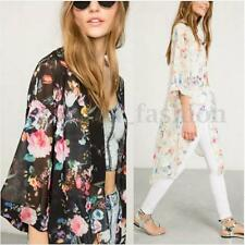 Women's Floral Chiffon Long Cardigan Coat Jacket Shawl Kimono Blouse Beach Tops