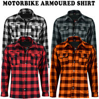 New Motorbike Lumberjack Flannel Shirt CE Armoured Motorcycle Shirts Protection