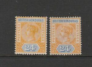 British Honduras 1891/1901 QV 24c, Yellow/Blue & Orange/Blue, MM SG 60 & 60a