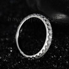 18K White Gold Wedding Natural Diamond Engagement Half Elternity Band Ring