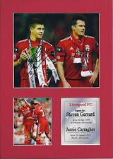 Jamie Carragher And Steven Gerrard Signed Photo Mount Display, Re-Print A4