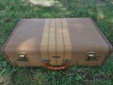 """Vintage """"Bengal Stripes"""" by Crown Tweed Striped Suitcase Luggage"""