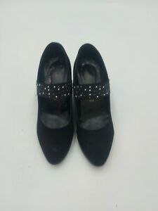 Black suede leather wedge shoes with strap across 38 (uk5)