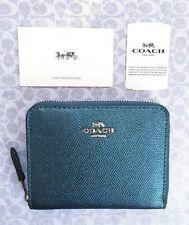 Coach Metallic Turquoise Zip Around Small Wallet NWT! F29444