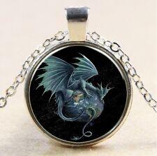 Vintage dragon Cabochon Tibetan silver Glass Chain Pendant Necklace #114