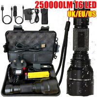 250000LM T6 LED Torch Tactical Military Outdoor Flashlight Headlamp Waterproof