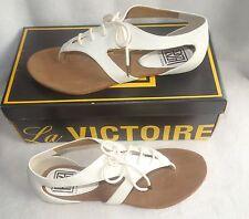 Pour La Victoire Rulah cream Leather Gladiator Sandals Shoes sz 6.5 new