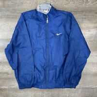 Vintage 90s Nike Full Zip Track Jacket Men XL Windbreaker Longsleeve Blue White