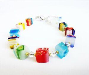 Candy Design Cube Square Venetian Colourful Flower Bead & Swarovski Bracelet