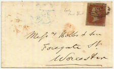 1852 QV 1d lake-red imperf cover 33 diamond numeral ->Worcester