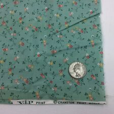 1/2 Yd Green Flowers Peach Calico Floral Cranston Print Vip Quilting Fabric