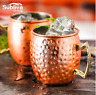 4 PCS 550ml Copper Plated Barrel Hammered Moscow Mule Mug Coffee Cup Beer