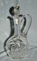 kleine Kristall Karaffe, oval, Henkel, geschliffen, Schleuderstern, 20,7 cm