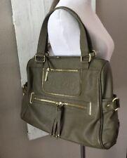OLIVIA & JOY Olive Green W/Gold Hardware Faux Leather Satchel/Shoulder Bag