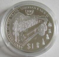 Cook-Inseln 1 Dollar 2016 100 Jahre Transsibirische Eisenbahn Silber