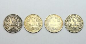 GERMANY 1/2 MARK 1906 1912 1915 1918 LOT OF 4 SILVER COINS