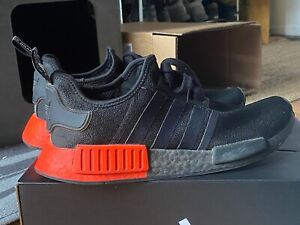 Adidas NMD R1 Size 9.5 US Men's Core Black / Core Black / Solar Red EE5107 Used
