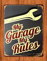 "TIN-UPS TIN SIGN ""My Garage My Rules"" Mechanic Tire Garage Rustic Decor Shop"