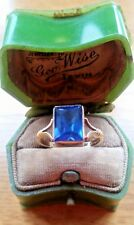 Alluring Vintage 9ct Gold ring with Sapphire Glass Facetted PRETTY Jewellery