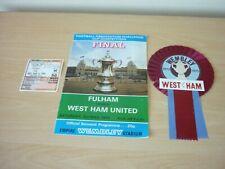 1975 FA CUP FINAL - FULHAM v WEST HAM UNITED - PROGRAMME - TICKET STUB & ROSETTE