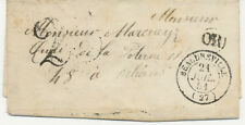 """2144 FRANCE 1851 LADY COVER postmarked """"25"""", """"OR"""" + """"BEAUDEVRILLE / (27)"""" RR!!"""